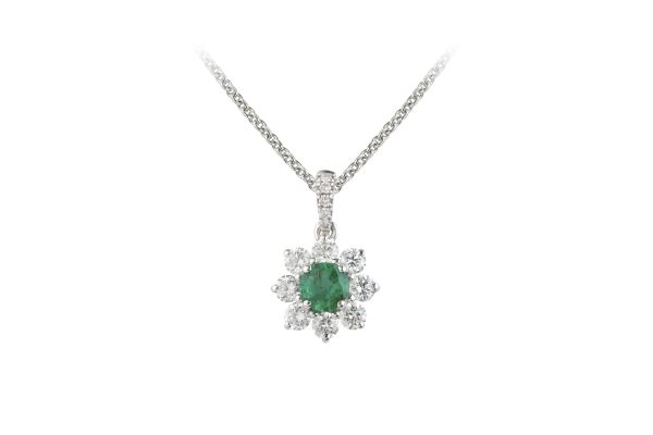 SB13915 Emerald & Diamond Round Cluster Pendant & Chain in 18ct White Gold