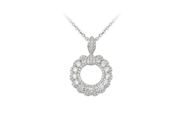 SB13932 Diamond Circular Pendant & Chain in 18ct White Gold