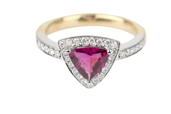 SB14510 Rubelite & Diamond Ring in 18ct White & Yellow Gold
