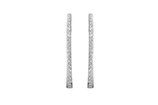 SB14616 Diamond Oval Hoop Earrings in 18ct White Gold