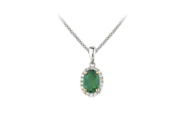 SB14907 Emerald & Diamond Oval Cluster Pendant & Chain in 18ct White Gold