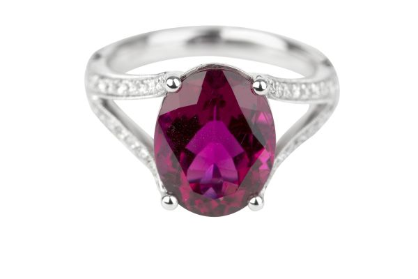 SB15507 Rubelite & Diamond Split shank Ring in 18ct White Gold