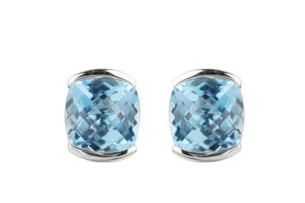 SB15617 Blue Topaz Earrings in 18ct White Gold