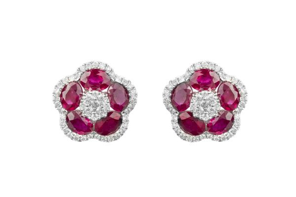 SB15621 Ruby & Diamond Cluster Earrings in 18ct White Gold