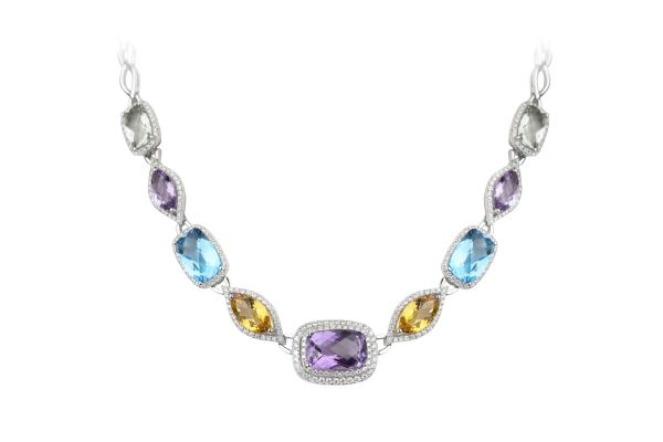 SB15808 Semi Precious Multi Colour & Diamond Necklace in 18ct White Gold