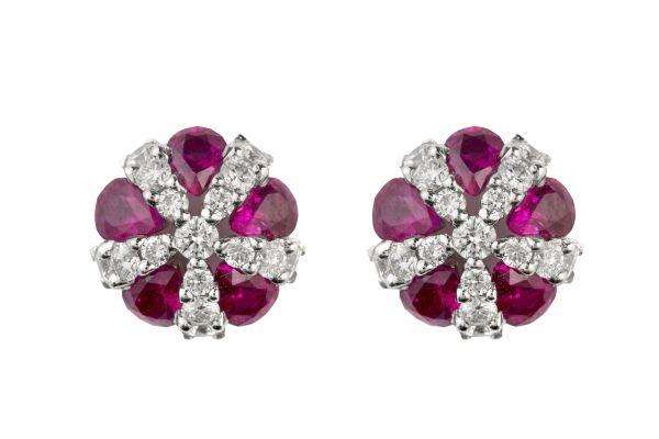 SE11636 Ruby & Diamond Domed Cluster Earrings in 18ct White Gold