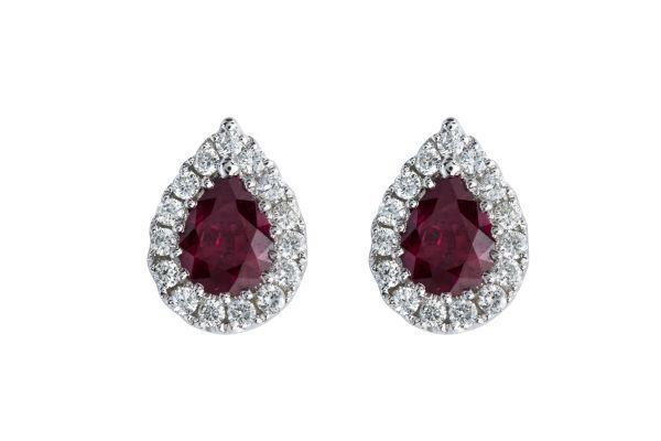 SE13629 Ruby & Diamond Pear Shape Cluster Earrings in 18ct White Gold