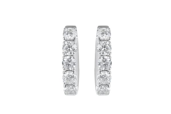SE13633 Diamond Hoop Earrings in 18ct White Gold
