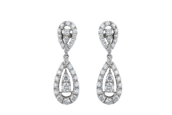 SE13634 Diamond Fancy Stud & Drop Earrings in 18ct White Gold