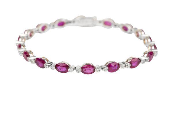 SE13705 Ruby & Diamond Line Bracelet in 18ct White Gold ( Rubies 9.14ct; Diamonds 0.46ct )