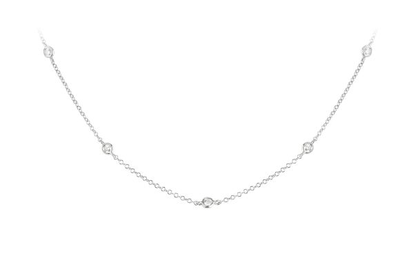 SE13823 Diamond Spaced Rubover set Chain in 18ct White Gold