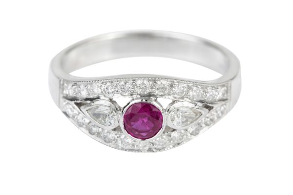 SE14513 Ruby & Diamond Vintage Ring in 18ct White Gold