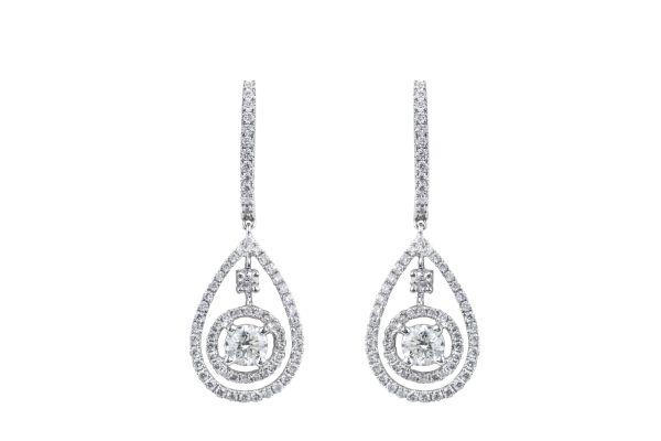 SE14624 Diamond Fancy Drop Earrings in 18ct White Gold