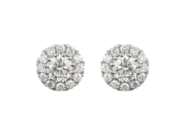 SE14625 Diamond Round Cluster Earrings in 18ct White Gold