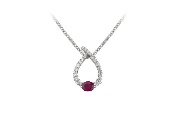SE14911 Ruby & Diamond Pendant in 18ct White Gold