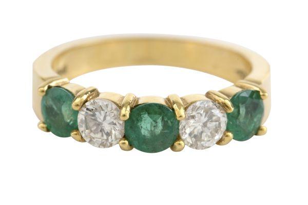 SF0599 Emerald & Diamond Half Eternity Ring in 18ct Yellow Gold
