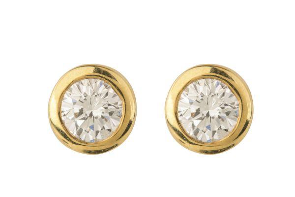SN00605 Diamond Single Stone Earrings in 18ct Yellow Gold