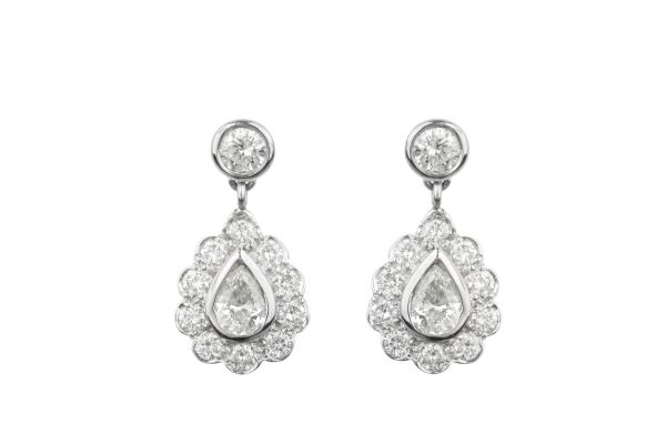 SN00653 Diamond Stud & Cluster Drop Earrings in 18ct White Gold