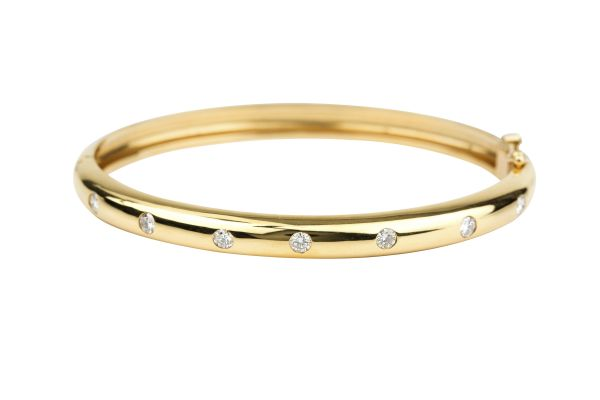 SN00714 Polished Bangle set with Diamonds in 18ct Yellow Gold ( 0.55ct )