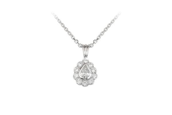 SN00841 Diamond Pear Shape Pendant & Chain in 18ct White Gold