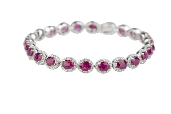 SN7718 Ruby & Diamond Cluster Line Bracelet in 18ct White Gold ( Rubies 11.65ct: Diamonds 2.08ct )