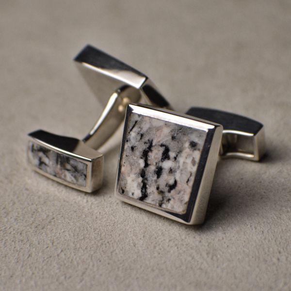 OR1335 SterlingSilver Cufflinks with Granite