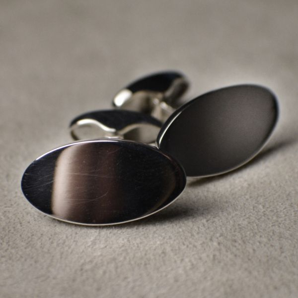 OR1609 Sterling Silver Hallmarked Oval Disc Cufflinks