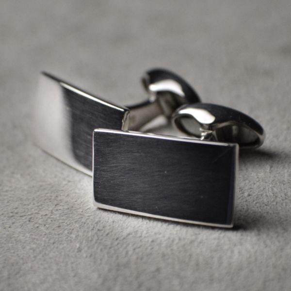 OR940 Hallmarked Sterling Silver Rectangular Cufflinks