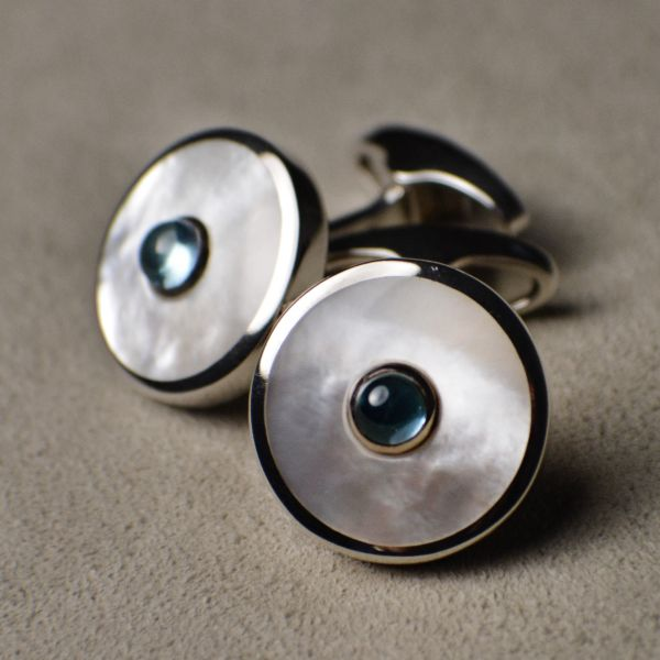 OR807 White Mother of Pearl & Blue Topaz Sterling Silver Cufflinks