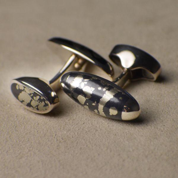 OR922 Pyrite Hallmarked Sterling Silver Cufflinks