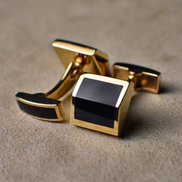 OR01222 Cut Onyx 9ct Yellow Gold Cufflinks