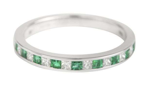 TP10524 Emerald & Princess-cut Diamond Half Eternity Channel set Ring in 18ct White Gold