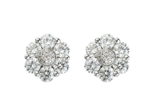 TP11621 Diamond Cluster Earrings in 18ct White Gold
