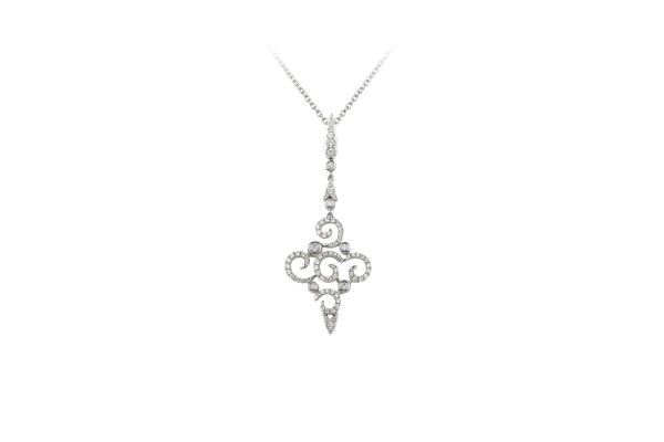 TP12916 Diamond Long Drop Pendant & Chain in 18ct White Gold