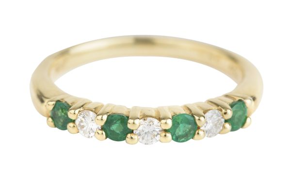 TP13553 Emerald & Diamond Seven Stone Half Eternity Ring in 18ct Yellow Gold
