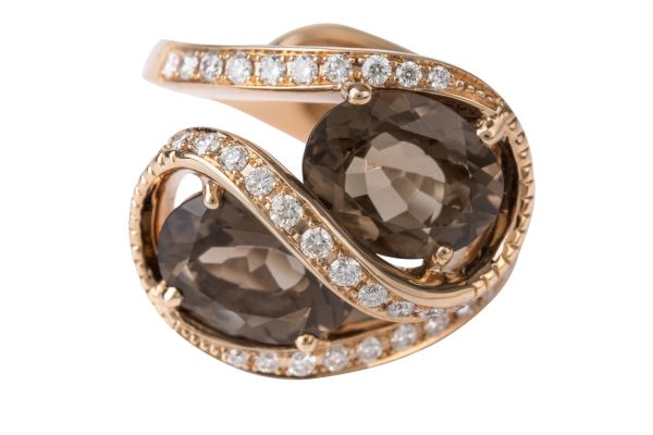 TP14519 Smokey Quartz & Diamond Fancy Ring in 18ct Rose Gold