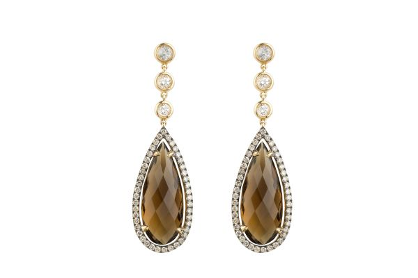TP14636 Smokey Quartz, Diamond & White Topaz Drop Earrings in 18ct Yellow Gold