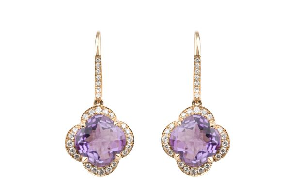 TP14637 Amethyst & Diamond Drop Earrings in 18ct Rose Gold