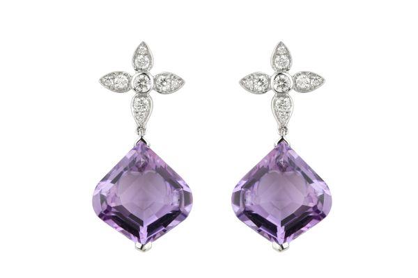 TP14638 Amethyst & Diamond Drop Earrings in 18ct White Gold