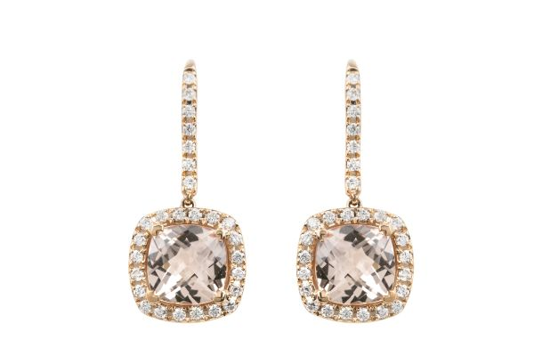 TP14639 Moganite & Diamond Drop Earrings in 18ct Rose Gold