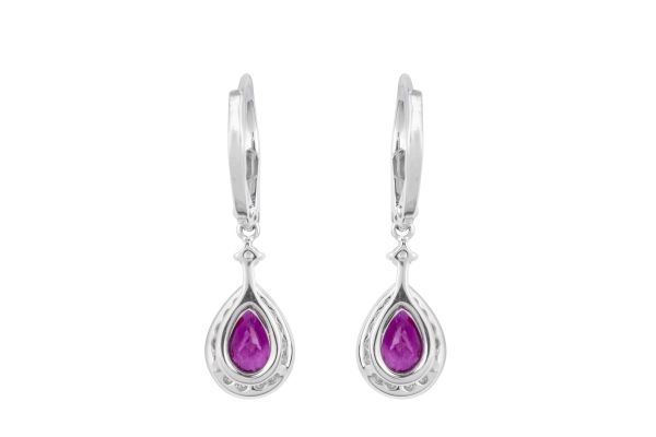 TP14642 Ruby & Diamond Drop Earrings In 18ct White Gold