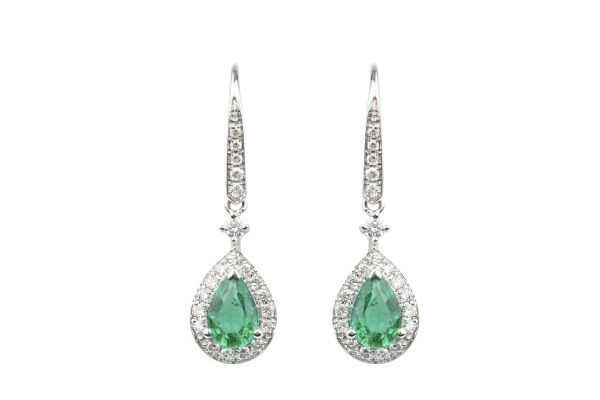 TP14643  Emerald & Diamond Drop Earrings in 18ct White Gold