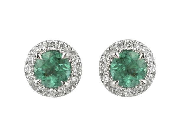 TP14648 Emerald & Diamond Round Cluster Earrings in 18ct White Gold