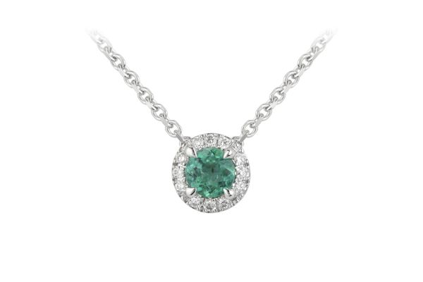TP14920 Emerald & Diamond Round Cluster Pendant & Chain in 18ct White Gold