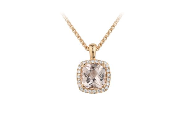 TP14921 Morganite & Diamond Cushion Cluster Pendant & Chain in 18ct Rose Gold