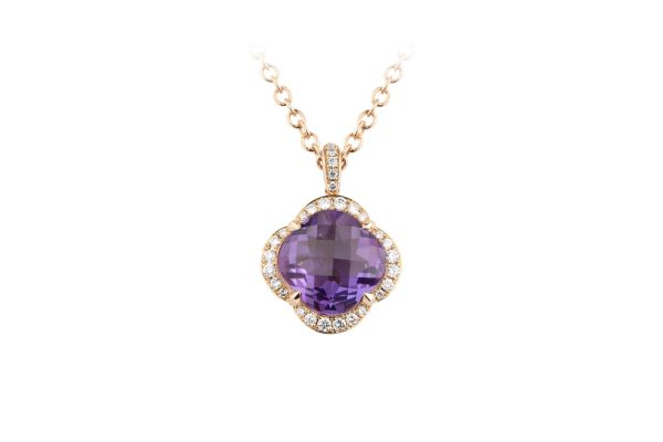 TP14923 Amethyst & Diamond Flower Pendant & Chain in 18ct Rose Gold