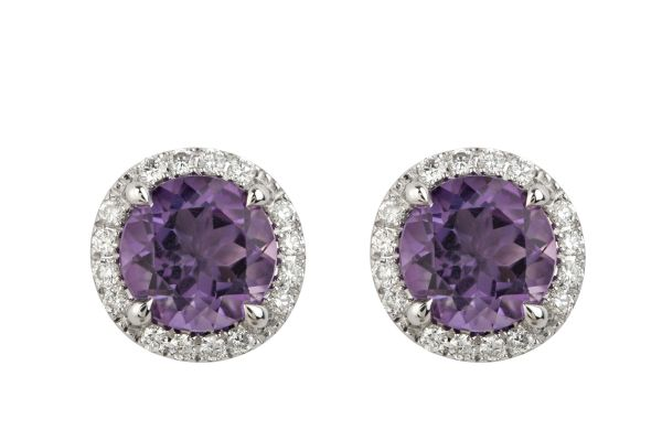 TP15612 Amethyst & Diamond Cluster Earrings in 18ct White Gold