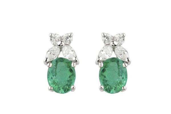 TP00639 Emerald & Diamond Earrings in 18ct White Gold