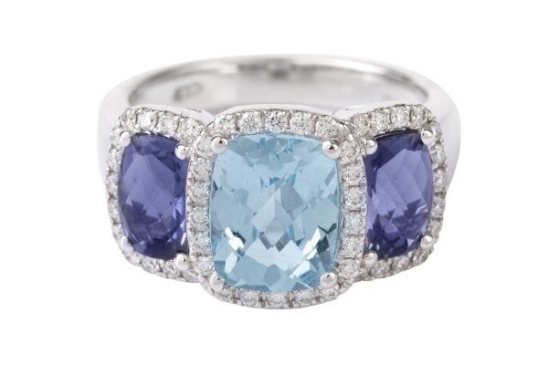 TP7538 Blue Topaz, Iolite & Diamond Ring in 18ct White Gold