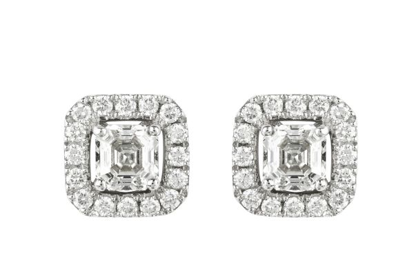 TP7607 Diamond Square Cluster Earrings in 18ct White Gold